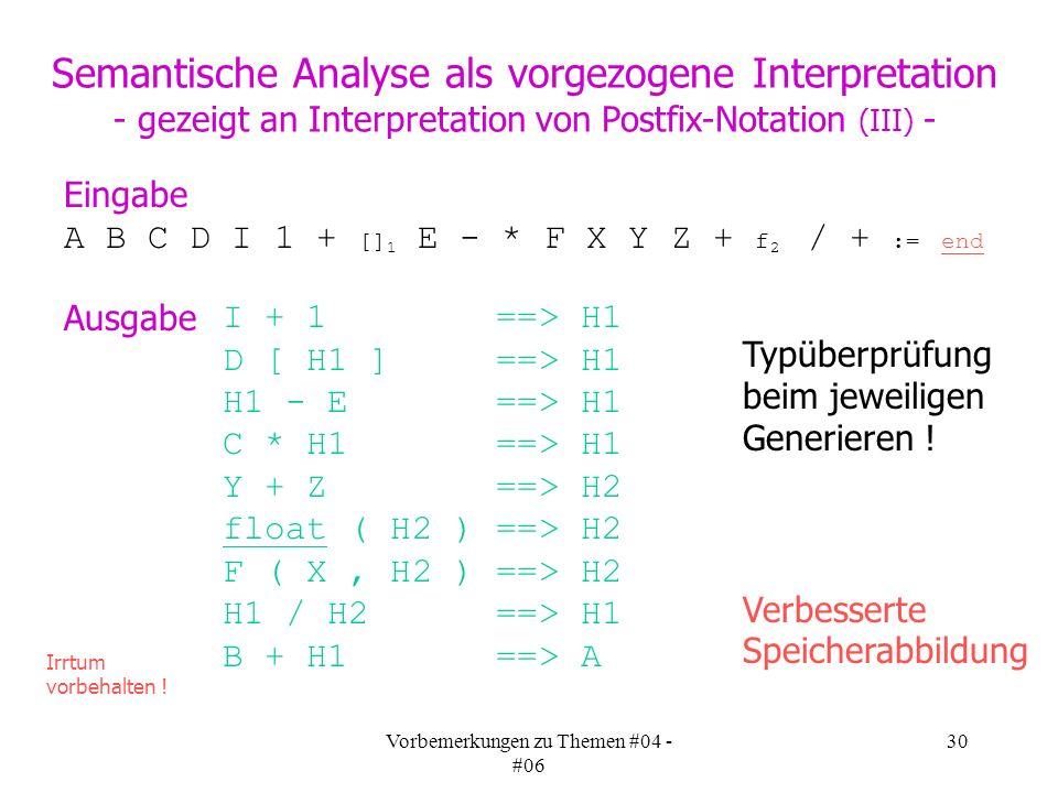 Vorbemerkungen zu Themen #04 - #06 30 A B C D I 1 + [] 1 E - * F X Y Z + f 2 / + := end Eingabe Semantische Analyse als vorgezogene Interpretation - gezeigt an Interpretation von Postfix-Notation (III) - Ausgabe I + 1 ==> H1 D [ H1 ] ==> H1 H1 - E ==> H1 C * H1 ==> H1 Y + Z ==> H2 float ( H2 ) ==> H2 F ( X, H2 ) ==> H2 H1 / H2 ==> H1 B + H1 ==> A Irrtum vorbehalten .