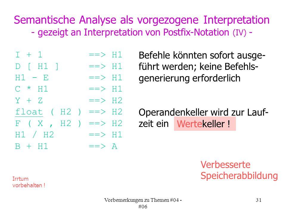 Vorbemerkungen zu Themen #04 - #06 31 Semantische Analyse als vorgezogene Interpretation - gezeigt an Interpretation von Postfix-Notation (IV) - I + 1 ==> H1 D [ H1 ] ==> H1 H1 - E ==> H1 C * H1 ==> H1 Y + Z ==> H2 float ( H2 ) ==> H2 F ( X, H2 ) ==> H2 H1 / H2 ==> H1 B + H1 ==> A Irrtum vorbehalten .