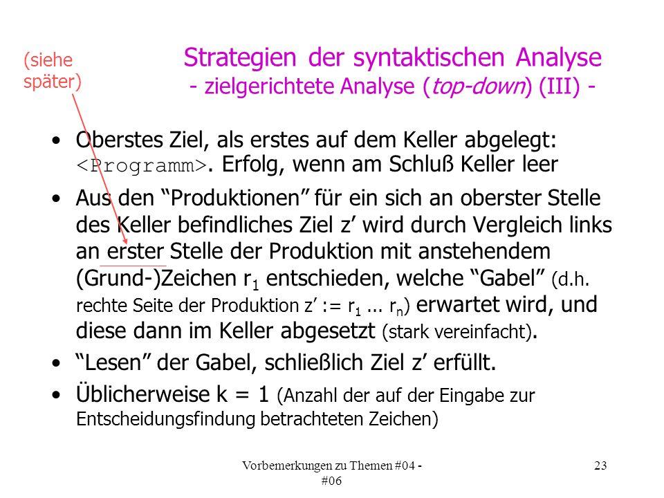 Vorbemerkungen zu Themen #04 - #06 23 Strategien der syntaktischen Analyse - zielgerichtete Analyse (top-down) (III) - Oberstes Ziel, als erstes auf dem Keller abgelegt:.