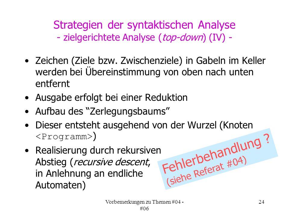 Vorbemerkungen zu Themen #04 - #06 24 Strategien der syntaktischen Analyse - zielgerichtete Analyse (top-down) (IV) - Zeichen (Ziele bzw.