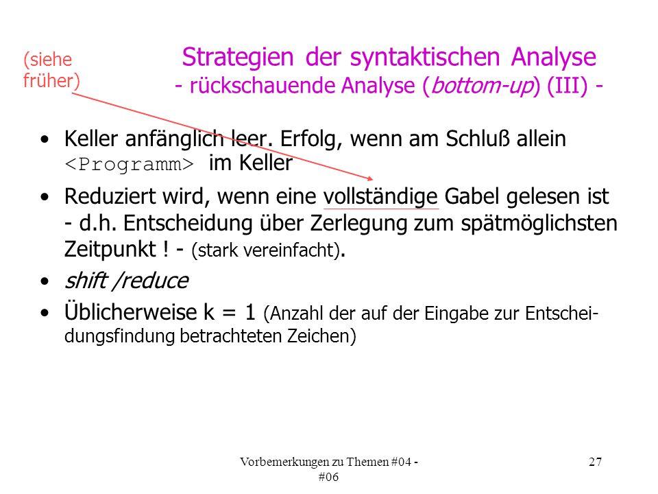 Vorbemerkungen zu Themen #04 - #06 27 Strategien der syntaktischen Analyse - rückschauende Analyse (bottom-up) (III) - Keller anfänglich leer.