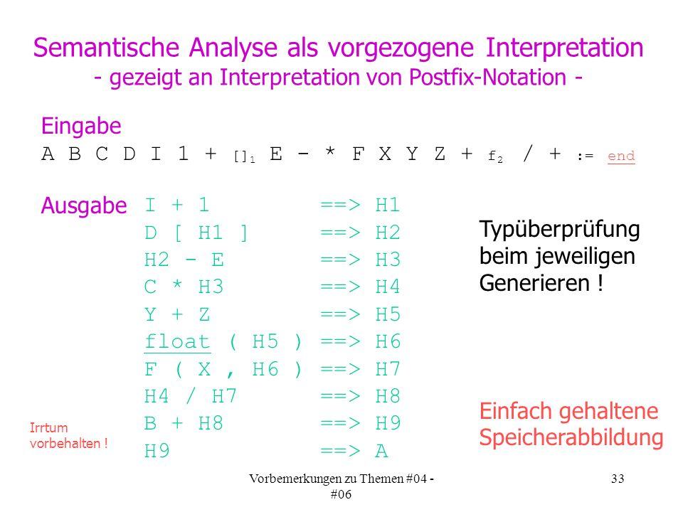 Vorbemerkungen zu Themen #04 - #06 33 A B C D I 1 + [] 1 E - * F X Y Z + f 2 / + := end Eingabe Semantische Analyse als vorgezogene Interpretation - gezeigt an Interpretation von Postfix-Notation - Ausgabe I + 1 ==> H1 D [ H1 ] ==> H2 H2 - E ==> H3 C * H3 ==> H4 Y + Z ==> H5 float ( H5 ) ==> H6 F ( X, H6 ) ==> H7 H4 / H7 ==> H8 B + H8 ==> H9 H9 ==> A Irrtum vorbehalten .