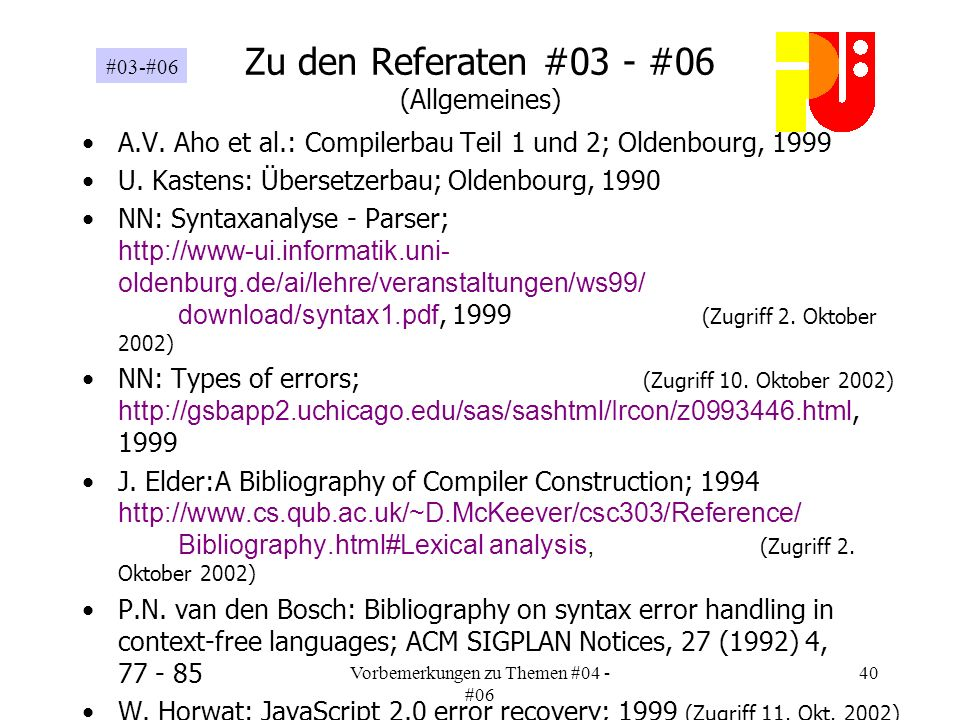 Vorbemerkungen zu Themen #04 - #06 40 Zu den Referaten #03 - #06 (Allgemeines) A.V.