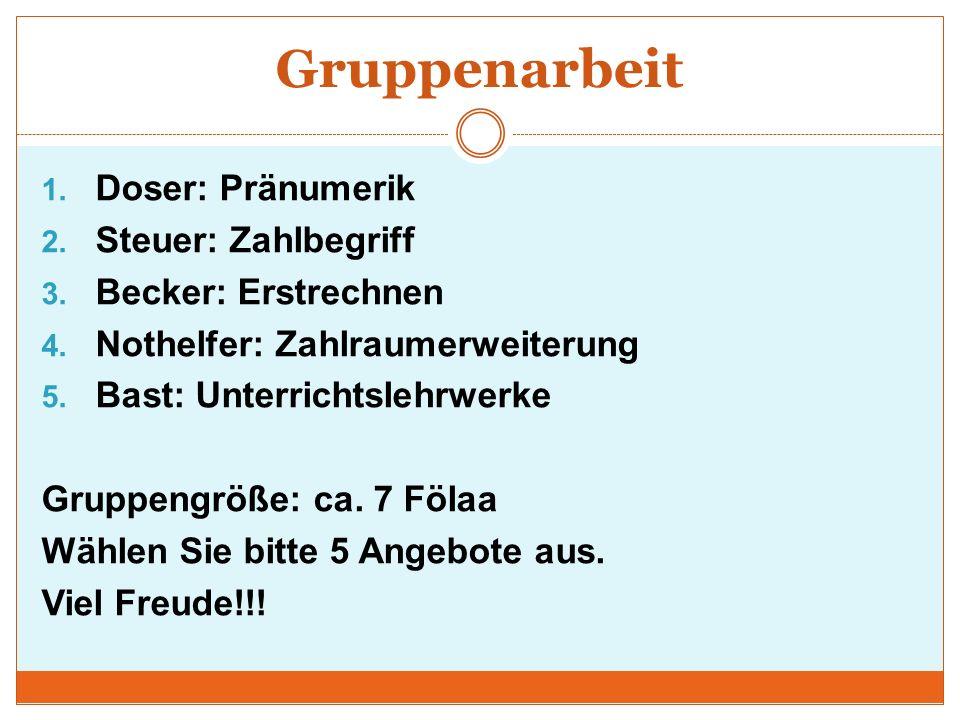 Gruppenarbeit 1.Doser: Pränumerik 2. Steuer: Zahlbegriff 3.