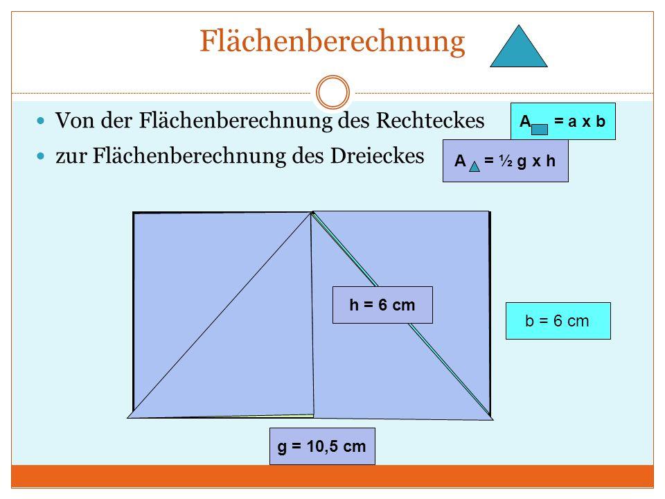 Flächenberechnung Von der Flächenberechnung des Rechteckes zur Flächenberechnung des Dreieckes a = 10,5 cm b = 6 cm A = a x b A = ½ g x h h = 6 cm g = 10,5 cm