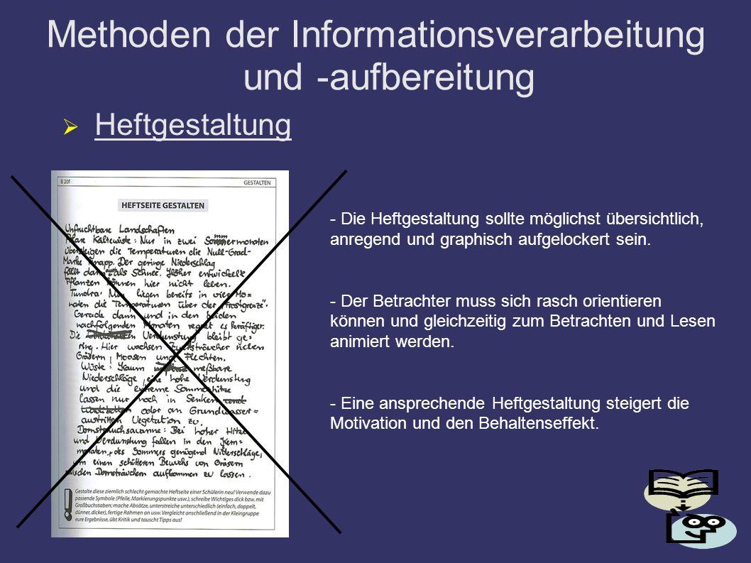 Methoden der Informationsverarbeitung und -aufbereitung Heftgestaltung - Die Heftgestaltung sollte möglichst übersichtlich, anregend und graphisch auf