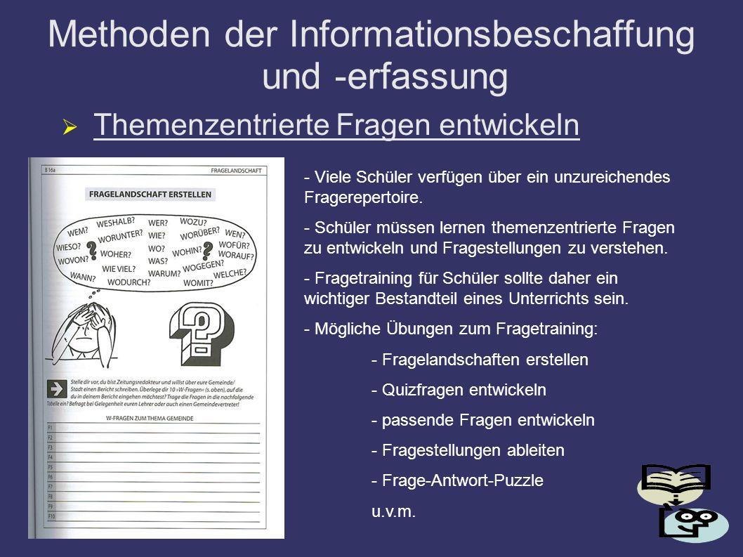 Methoden der Informationsbeschaffung und -erfassung Themenzentrierte Fragen entwickeln - Viele Schüler verfügen über ein unzureichendes Fragerepertoir
