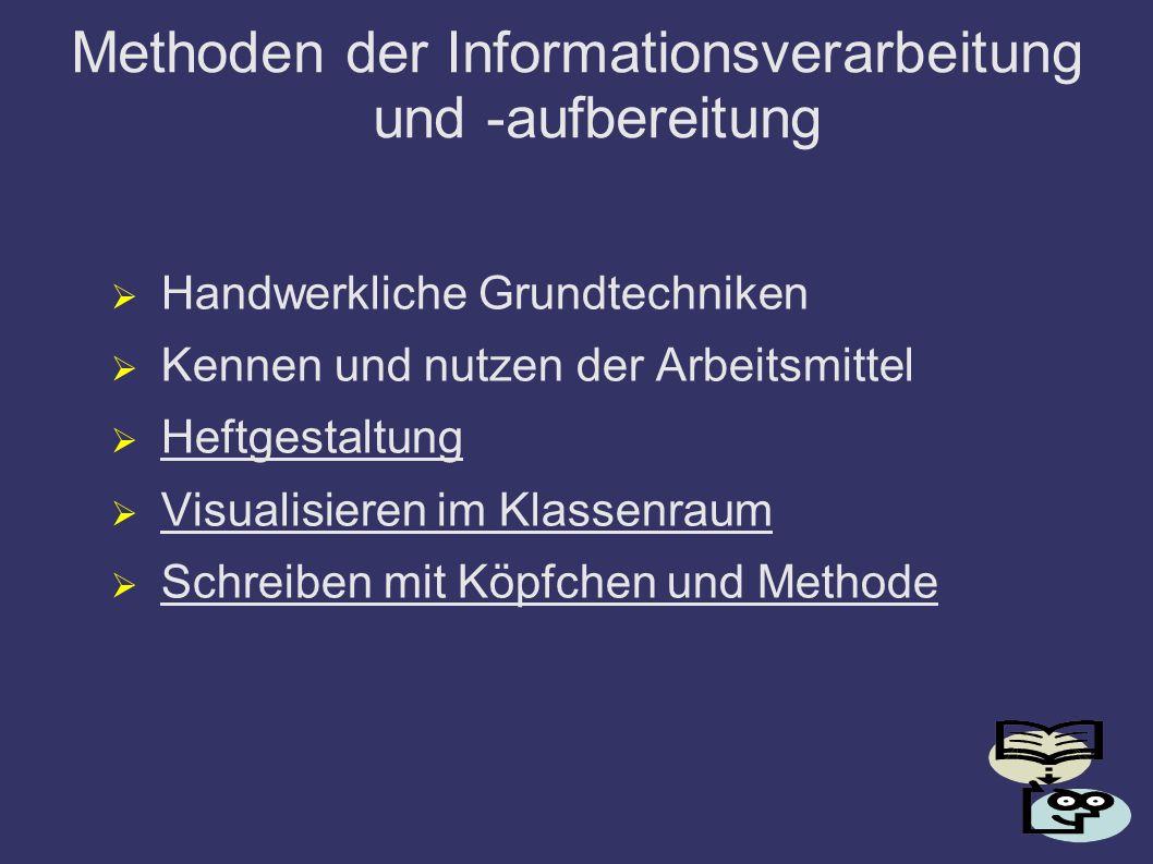 Methoden der Informationsverarbeitung und -aufbereitung Handwerkliche Grundtechniken Kennen und nutzen der Arbeitsmittel Heftgestaltung Visualisieren