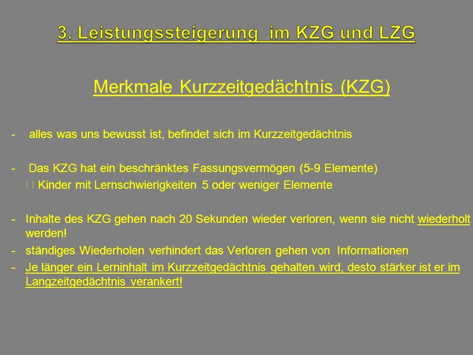 Merkmale Kurzzeitgedächtnis (KZG) - alles was uns bewusst ist, befindet sich im Kurzzeitgedächtnis - Das KZG hat ein beschränktes Fassungsvermögen (5-