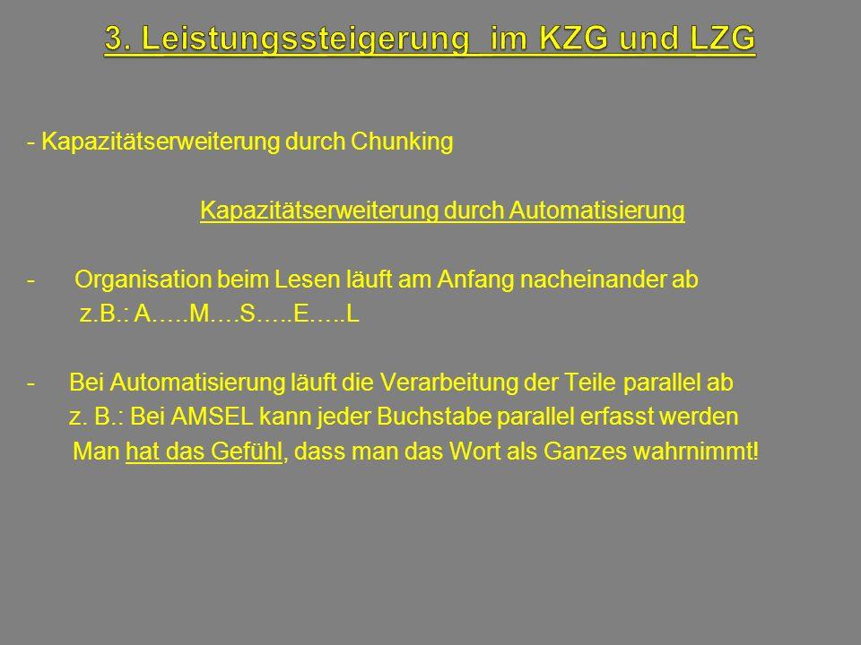 - Kapazitätserweiterung durch Chunking Kapazitätserweiterung durch Automatisierung - Organisation beim Lesen läuft am Anfang nacheinander ab z.B.: A….