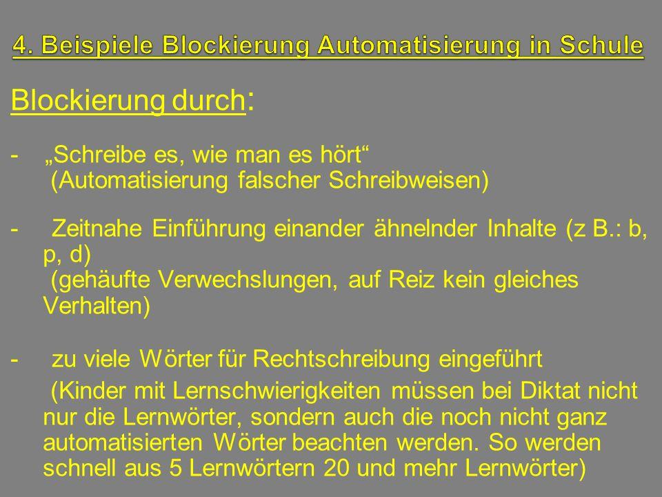 Blockierung durch : - Schreibe es, wie man es hört (Automatisierung falscher Schreibweisen) - Zeitnahe Einführung einander ähnelnder Inhalte (z B.: b,
