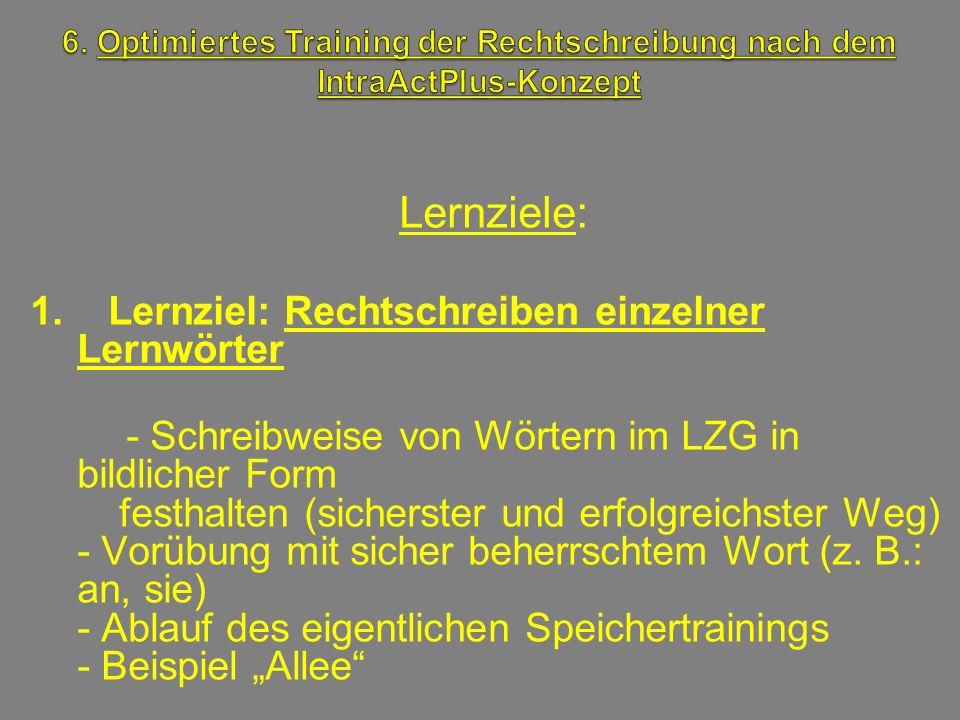 Lernziele: 1. Lernziel: Rechtschreiben einzelner Lernwörter - Schreibweise von Wörtern im LZG in bildlicher Form festhalten (sicherster und erfolgreic