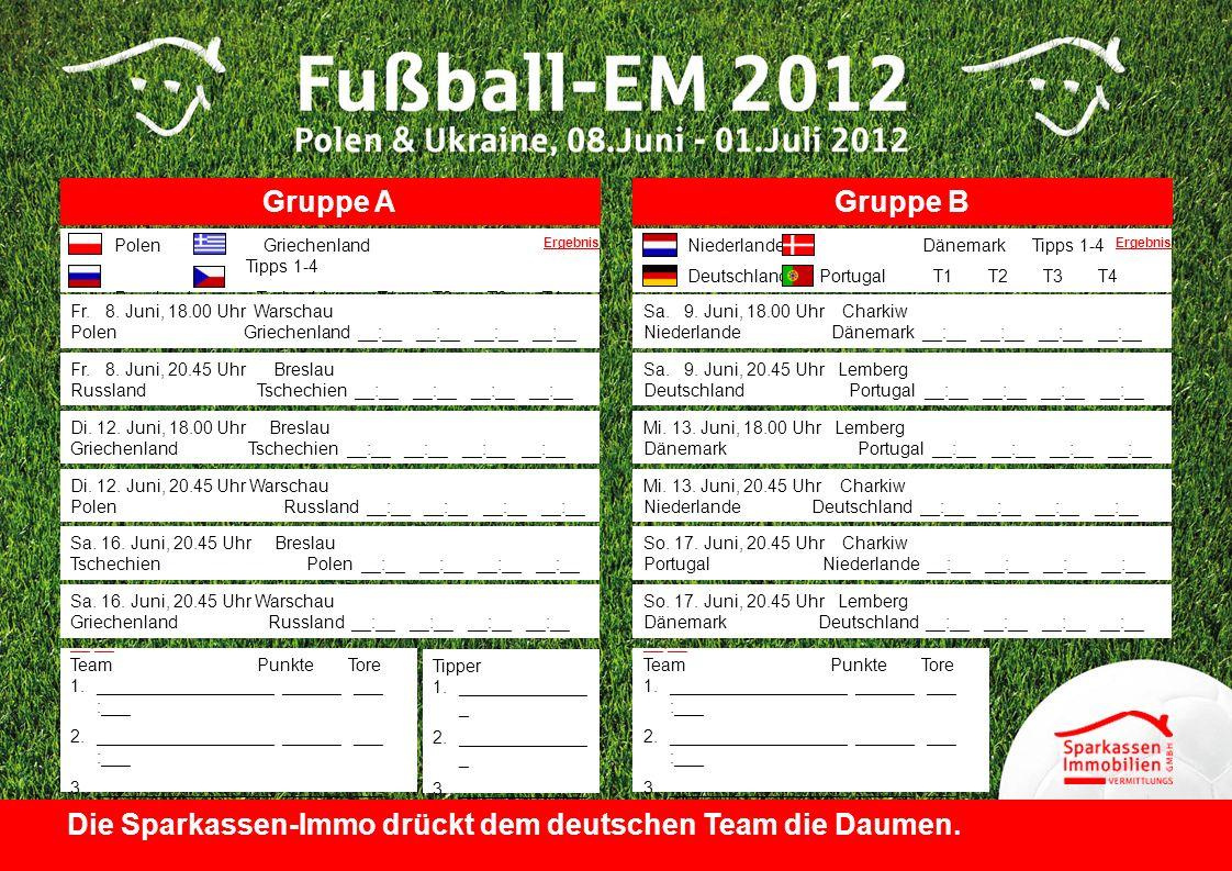 Gruppe AGruppe B Polen Griechenland Tipps 1-4 Russland Tschechien T1 T2 T3 T4 Niederlande Dänemark Tipps 1-4 Deutschland Portugal T1 T2 T3 T4 Sa. 9. J