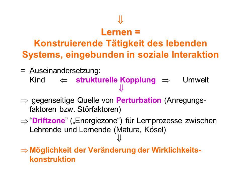 Lernen = Lernen = Konstruierende Tätigkeit des lebenden Systems, eingebunden in soziale Interaktion =Auseinandersetzung: Kind strukturelle Kopplung Um