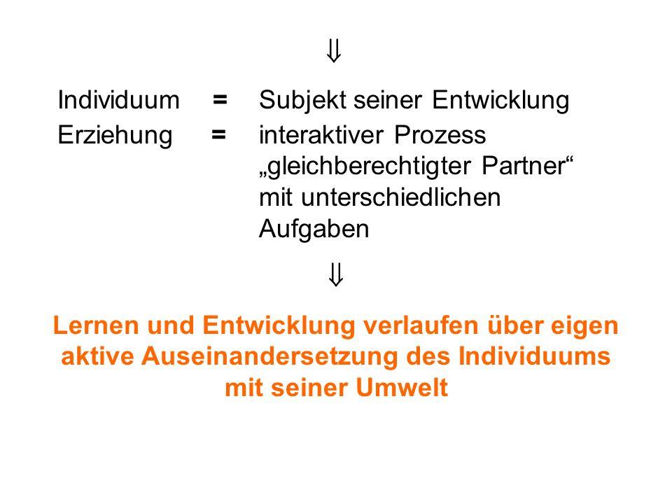 Individuum = Subjekt seiner Entwicklung Erziehung = interaktiver Prozess gleichberechtigter Partner mit unterschiedlichen Aufgaben Lernen und Entwickl