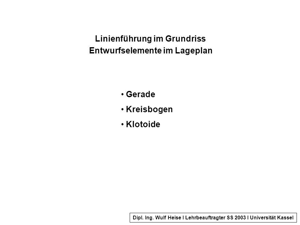 Linienführung im Grundriss Entwurfselemente im Lageplan Gerade Kreisbogen Klotoide Dipl.
