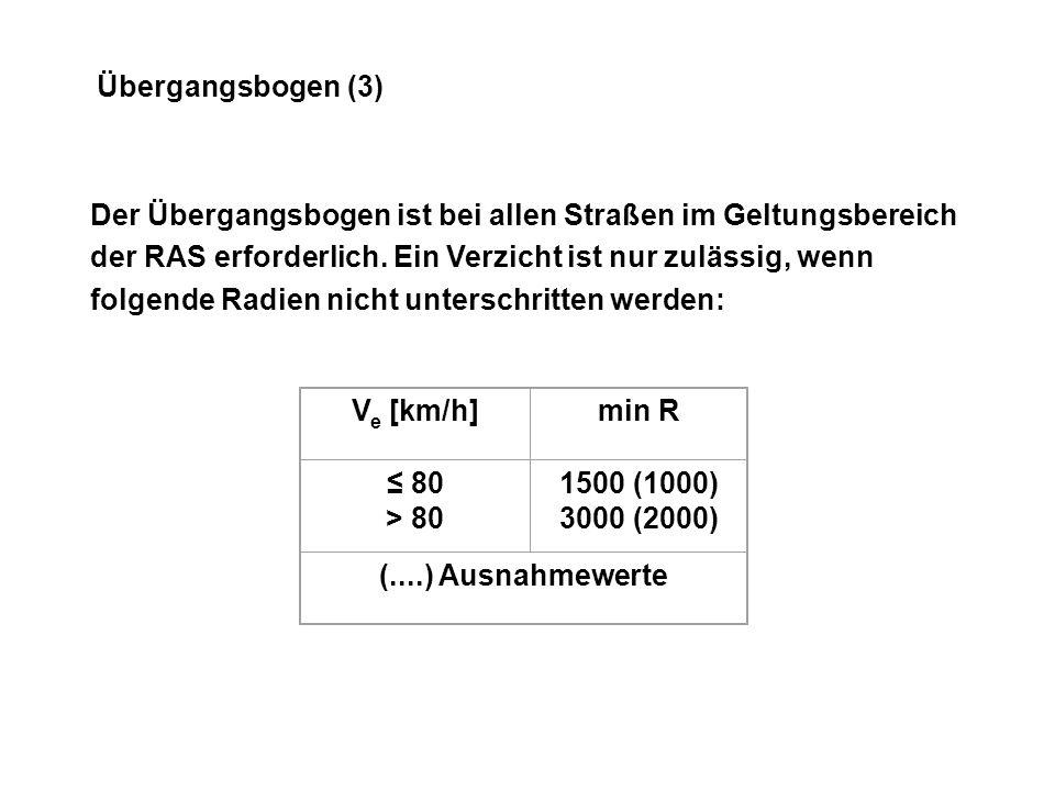 Übergangsbogen (3) Der Übergangsbogen ist bei allen Straßen im Geltungsbereich der RAS erforderlich.