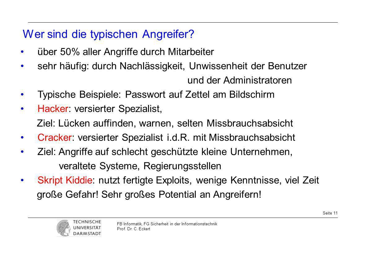 Seite 11 FB Informatik, FG Sicherheit in der Informationstechnik Prof. Dr. C. Eckert Wer sind die typischen Angreifer? über 50% aller Angriffe durch M