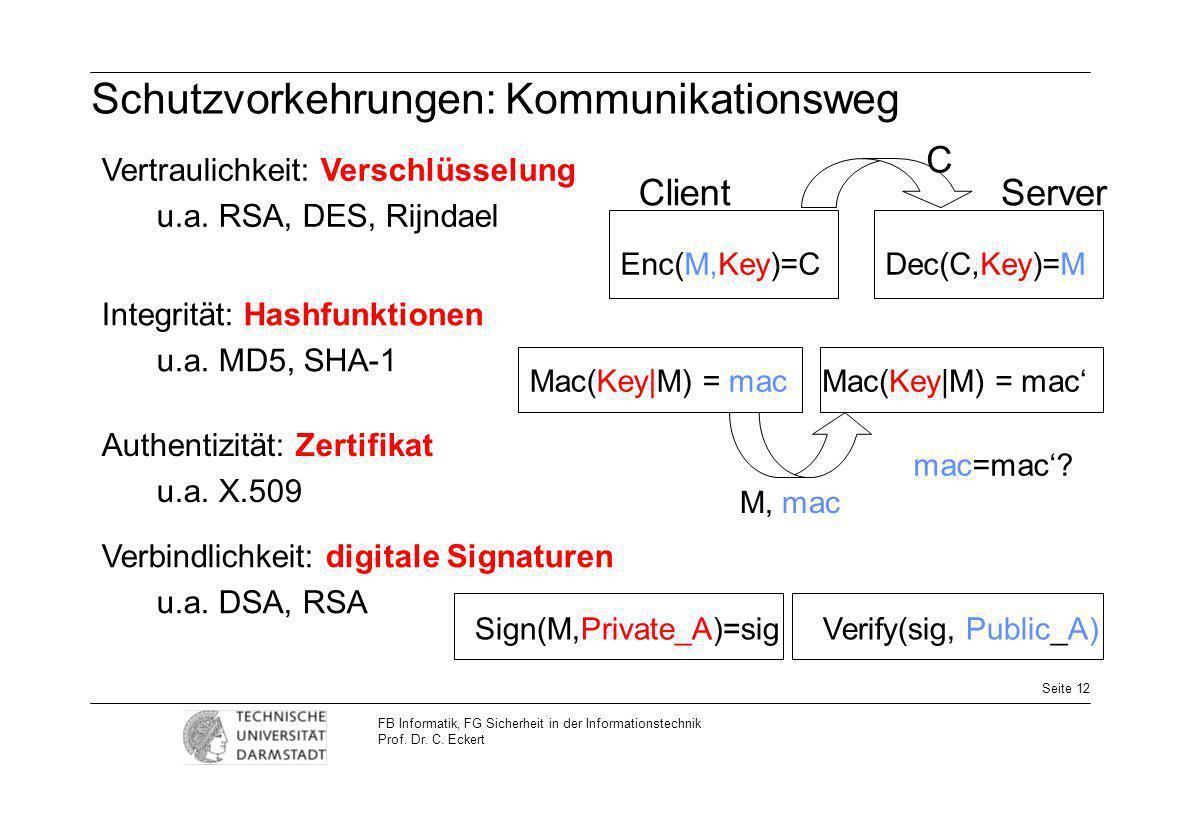 Seite 12 FB Informatik, FG Sicherheit in der Informationstechnik Prof. Dr. C. Eckert Schutzvorkehrungen: Kommunikationsweg Mac(Key|M) = mac M, mac Mac