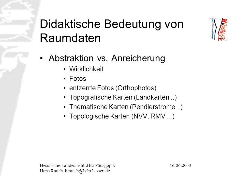 16.06.2003Hessisches Landesinstitut für Pädagogik Hans Rauch, h.rauch@help.hessen.de Didaktische Bedeutung von Raumdaten Abstraktion vs. Anreicherung