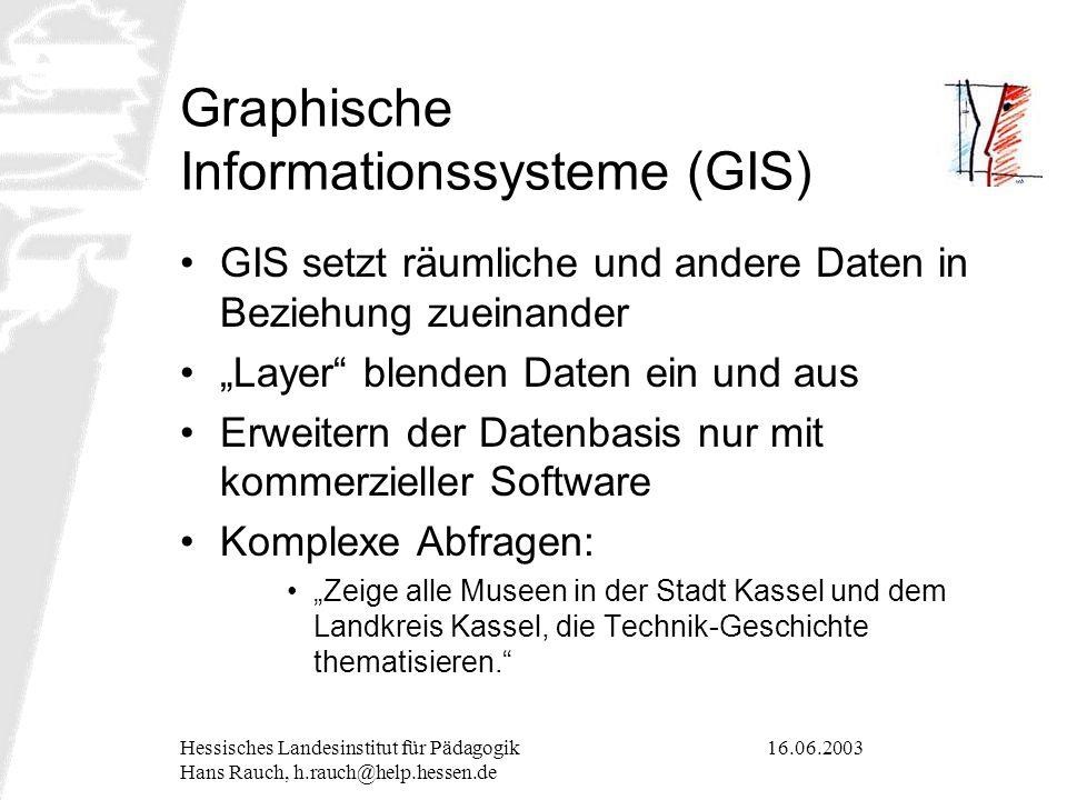 16.06.2003Hessisches Landesinstitut für Pädagogik Hans Rauch, h.rauch@help.hessen.de Graphische Informationssysteme (GIS) GIS setzt räumliche und ande