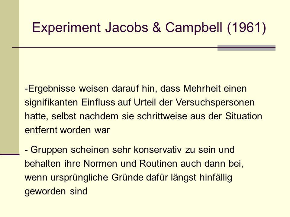 Experiment Jacobs & Campbell (1961) -Ergebnisse weisen darauf hin, dass Mehrheit einen signifikanten Einfluss auf Urteil der Versuchspersonen hatte, s
