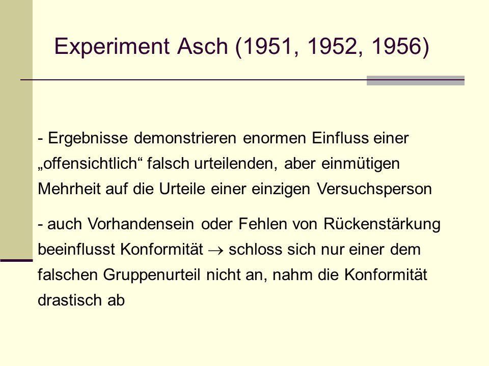 Experiment Asch (1951, 1952, 1956) - Ergebnisse demonstrieren enormen Einfluss einer offensichtlich falsch urteilenden, aber einmütigen Mehrheit auf d