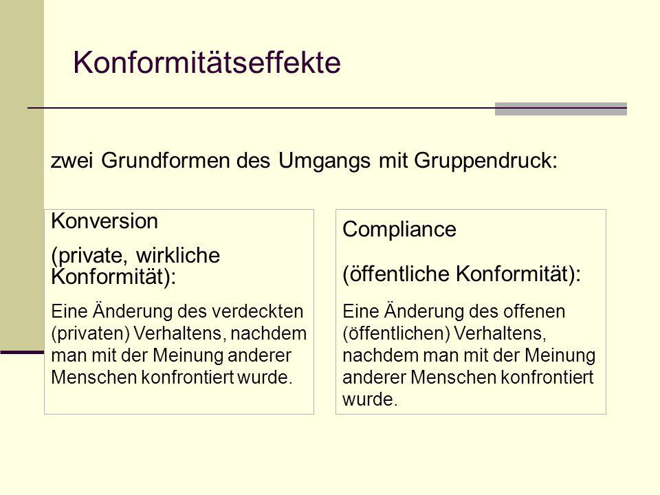 Konformitätseffekte zwei Grundformen des Umgangs mit Gruppendruck: Konversion (private, wirkliche Konformität): Eine Änderung des verdeckten (privaten