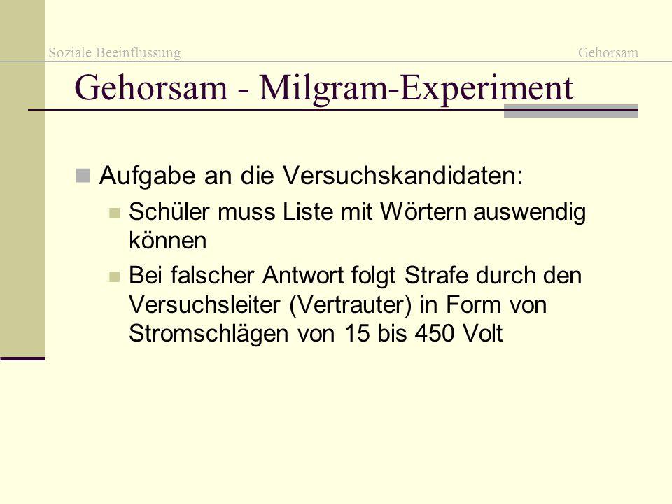 Gehorsam - Milgram-Experiment Aufgabe an die Versuchskandidaten: Schüler muss Liste mit Wörtern auswendig können Bei falscher Antwort folgt Strafe dur