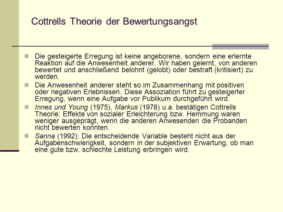 Cottrells Theorie der Bewertungsangst Die gesteigerte Erregung ist keine angeborene, sondern eine erlernte Reaktion auf die Anwesenheit anderer. Wir h