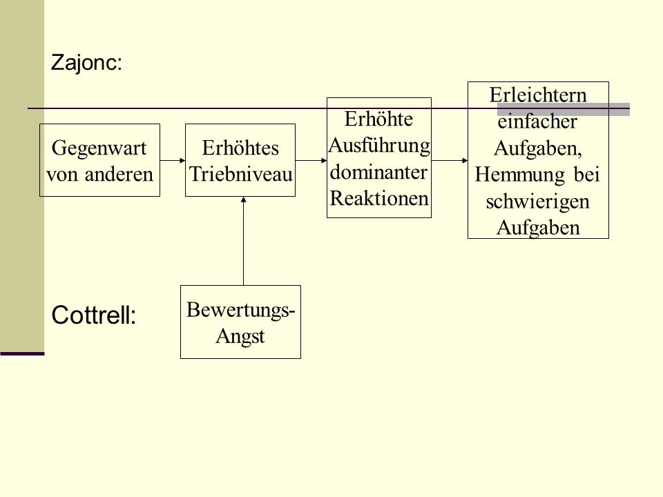 Zajonc: Gegenwart von anderen Erhöhtes Triebniveau Erhöhte Ausführung dominanter Reaktionen Erleichtern einfacher Aufgaben, Hemmung bei schwierigen Au