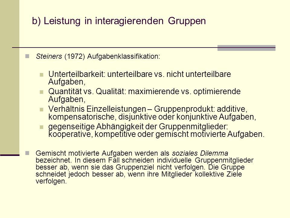 b) Leistung in interagierenden Gruppen Steiners (1972) Aufgabenklassifikation: Unterteilbarkeit: unterteilbare vs. nicht unterteilbare Aufgaben, Quant