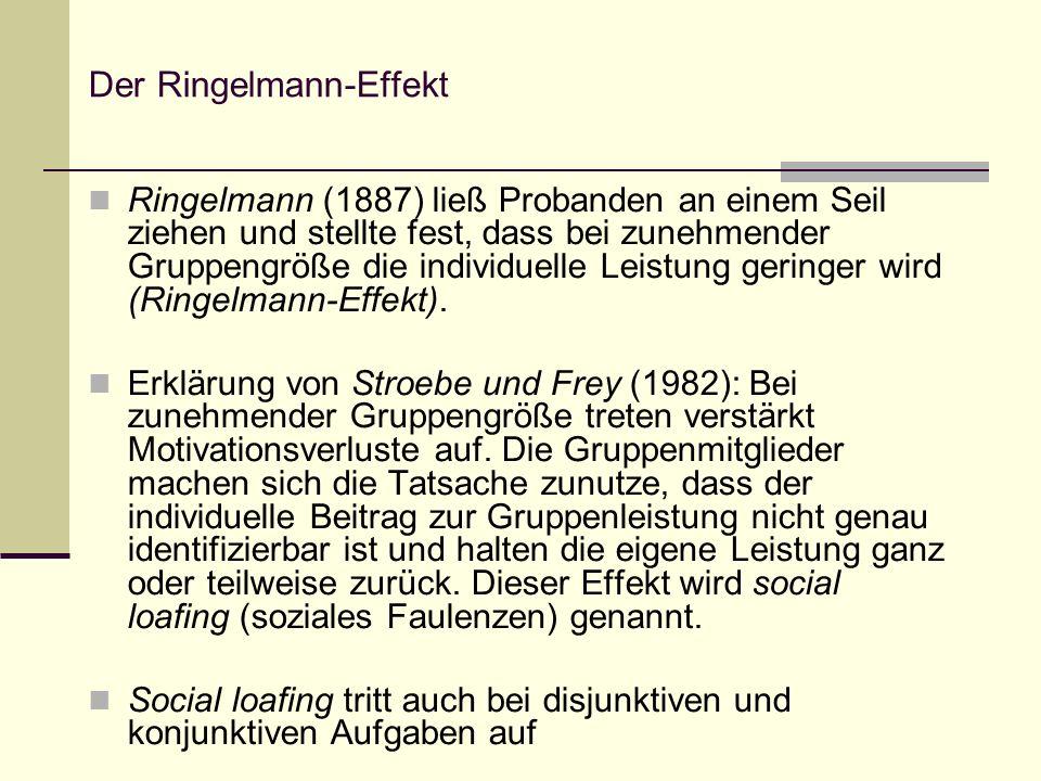Der Gimpeleffekt Ein weitere Beobachtung machte Kerr (1982) mit dem sog.