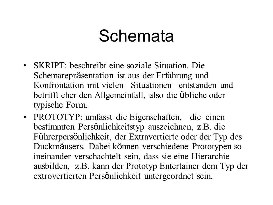 Schemata SKRIPT: beschreibt eine soziale Situation. Die Schemarepr ä sentation ist aus der Erfahrung und Konfrontation mit vielen Situationen entstand