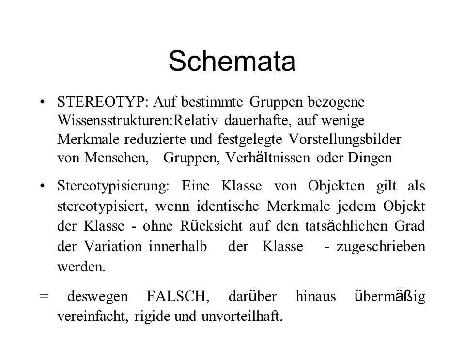 Schemata STEREOTYP: Auf bestimmte Gruppen bezogene Wissensstrukturen:Relativ dauerhafte, auf wenige Merkmale reduzierte und festgelegte Vorstellungsbi