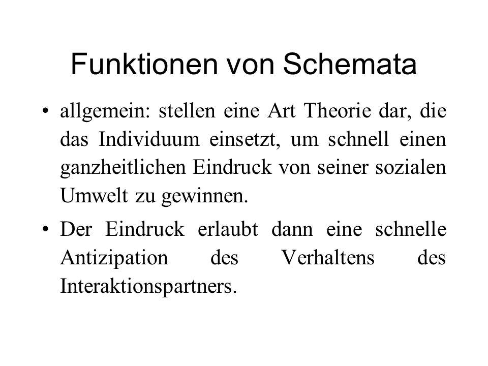 Funktionen von Schemata allgemein: stellen eine Art Theorie dar, die das Individuum einsetzt, um schnell einen ganzheitlichen Eindruck von seiner sozi