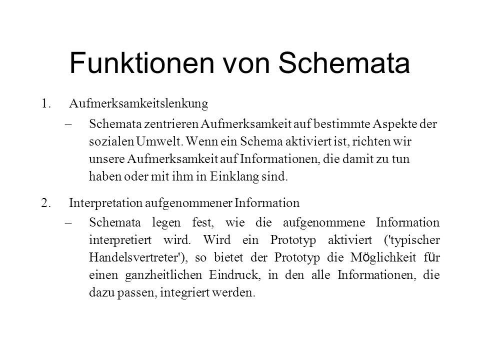 Funktionen von Schemata 1.Aufmerksamkeitslenkung –Schemata zentrieren Aufmerksamkeit auf bestimmte Aspekte der sozialen Umwelt. Wenn ein Schema aktivi