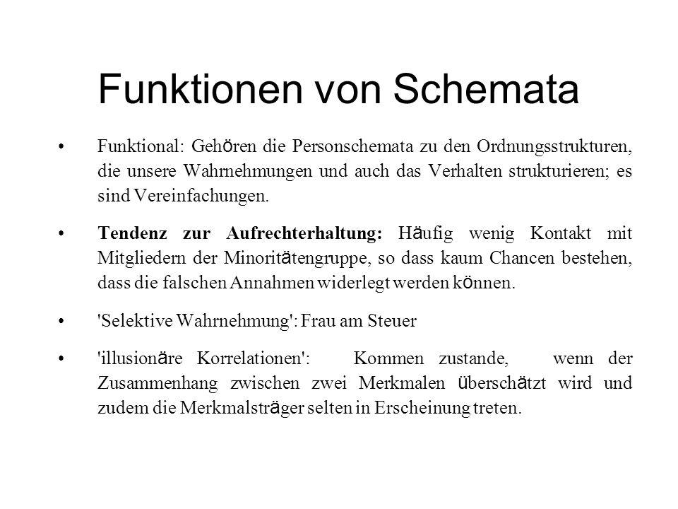 Funktionen von Schemata Funktional: Geh ö ren die Personschemata zu den Ordnungsstrukturen, die unsere Wahrnehmungen und auch das Verhalten strukturie