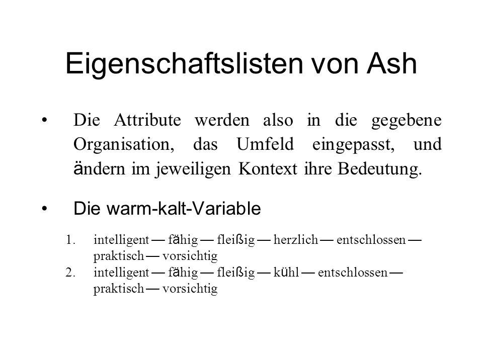 Eigenschaftslisten von Ash Die Attribute werden also in die gegebene Organisation, das Umfeld eingepasst, und ä ndern im jeweiligen Kontext ihre Bedeu
