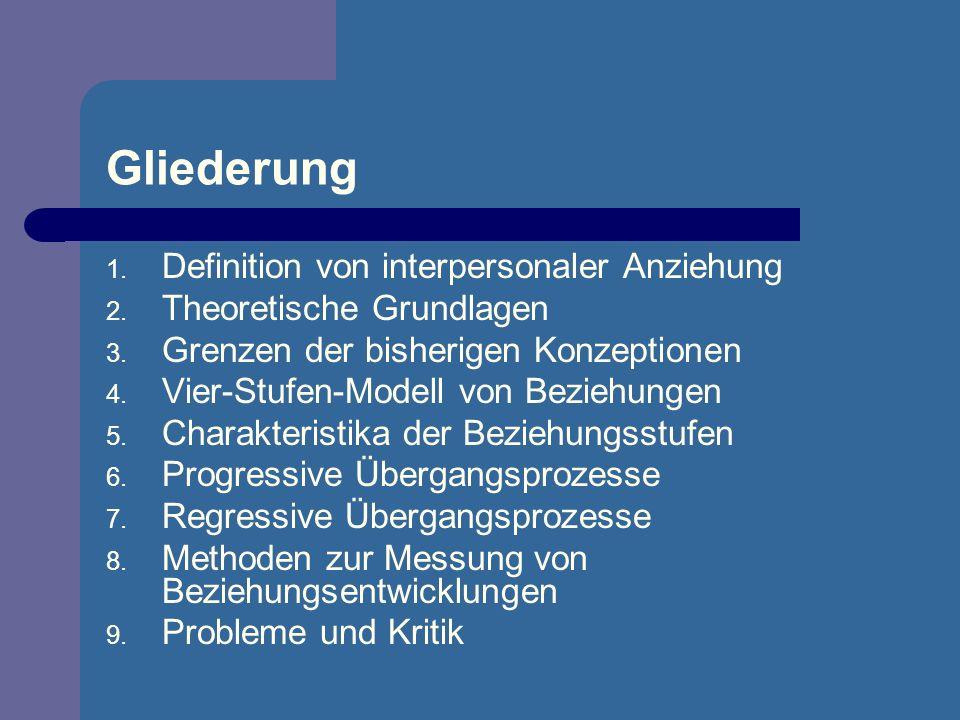 Gliederung 1. Definition von interpersonaler Anziehung 2. Theoretische Grundlagen 3. Grenzen der bisherigen Konzeptionen 4. Vier-Stufen-Modell von Bez