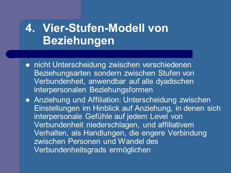 4.Vier-Stufen-Modell von Beziehungen nicht Unterscheidung zwischen verschiedenen Beziehungsarten sondern zwischen Stufen von Verbundenheit, anwendbar