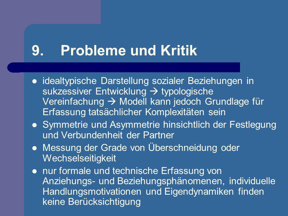 9.Probleme und Kritik idealtypische Darstellung sozialer Beziehungen in sukzessiver Entwicklung typologische Vereinfachung Modell kann jedoch Grundlag