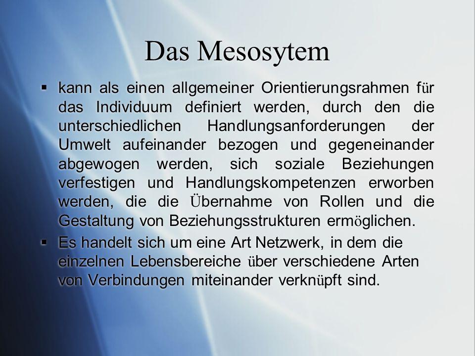Das Mesosytem kann als einen allgemeiner Orientierungsrahmen f ü r das Individuum definiert werden, durch den die unterschiedlichen Handlungsanforderu