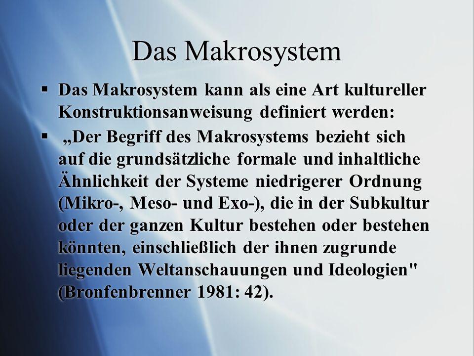 Das Makrosystem Das Makrosystem kann als eine Art kultureller Konstruktionsanweisung definiert werden: Der Begriff des Makrosystems bezieht sich auf d