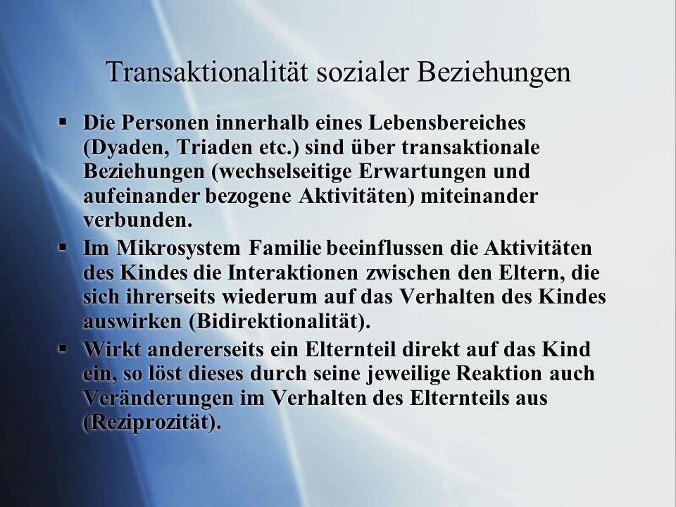 Transaktionalität sozialer Beziehungen Die Personen innerhalb eines Lebensbereiches (Dyaden, Triaden etc.) sind über transaktionale Beziehungen (wechs