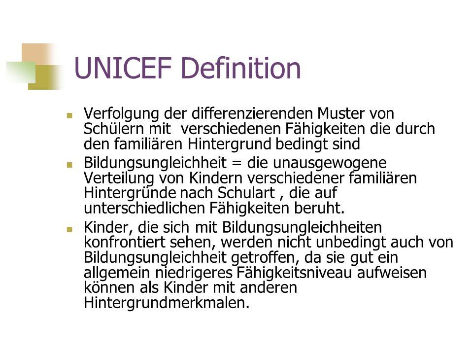 UNICEF Definition Verfolgung der differenzierenden Muster von Schülern mit verschiedenen Fähigkeiten die durch den familiären Hintergrund bedingt sind