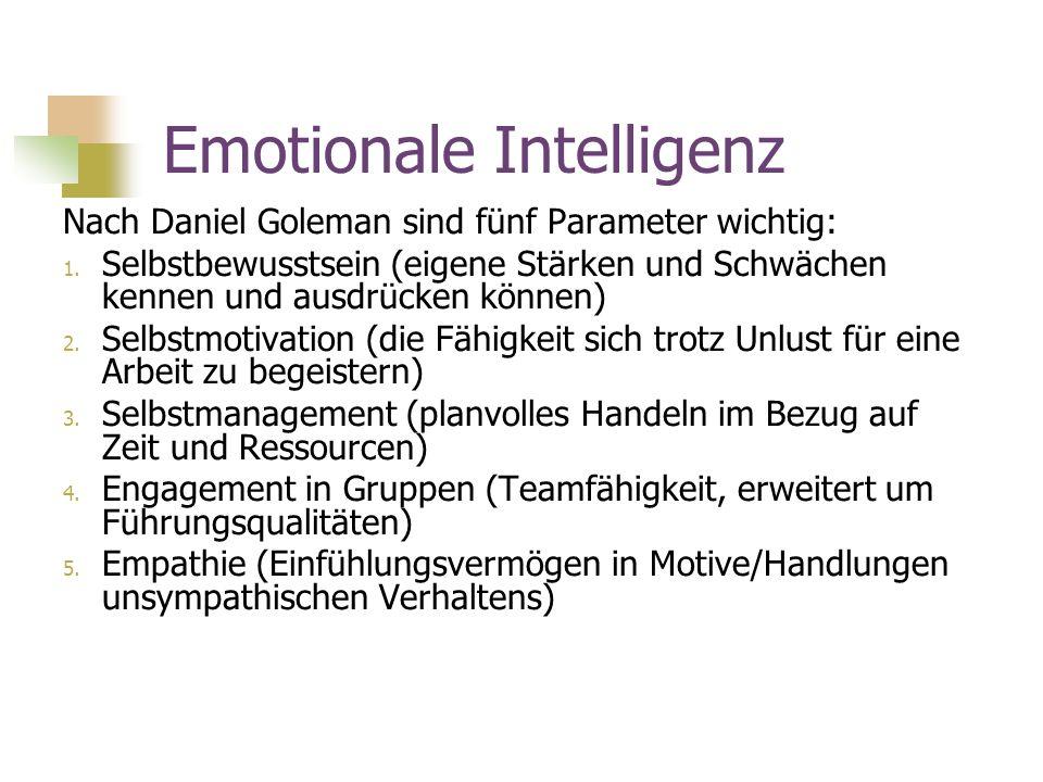 Emotionale Intelligenz Nach Daniel Goleman sind fünf Parameter wichtig: 1. Selbstbewusstsein (eigene Stärken und Schwächen kennen und ausdrücken könne