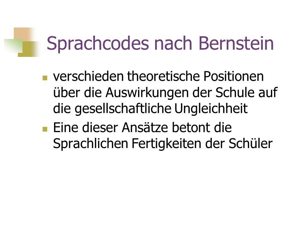 Sprachcodes nach Bernstein verschieden theoretische Positionen über die Auswirkungen der Schule auf die gesellschaftliche Ungleichheit Eine dieser Ans