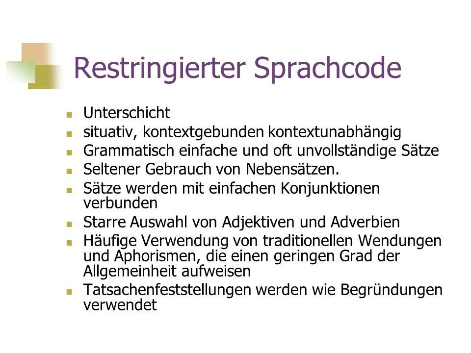 Restringierter Sprachcode Unterschicht situativ, kontextgebunden kontextunabhängig Grammatisch einfache und oft unvollständige Sätze Seltener Gebrauch