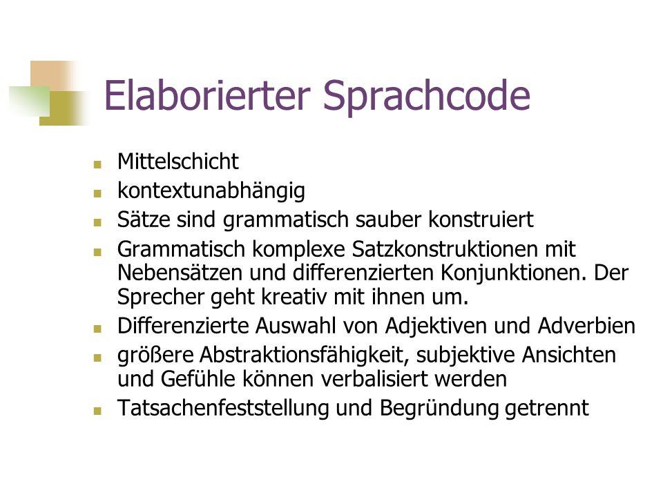Elaborierter Sprachcode Mittelschicht kontextunabhängig Sätze sind grammatisch sauber konstruiert Grammatisch komplexe Satzkonstruktionen mit Nebensät
